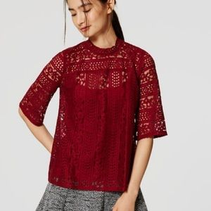 Burgundy Loft lace mock neck bell sleeve top S